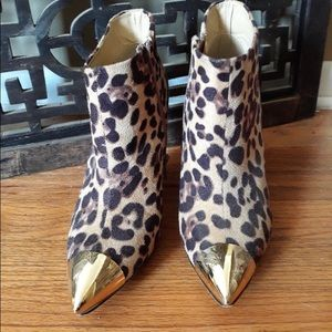 Leopard suede and gold heeled boots